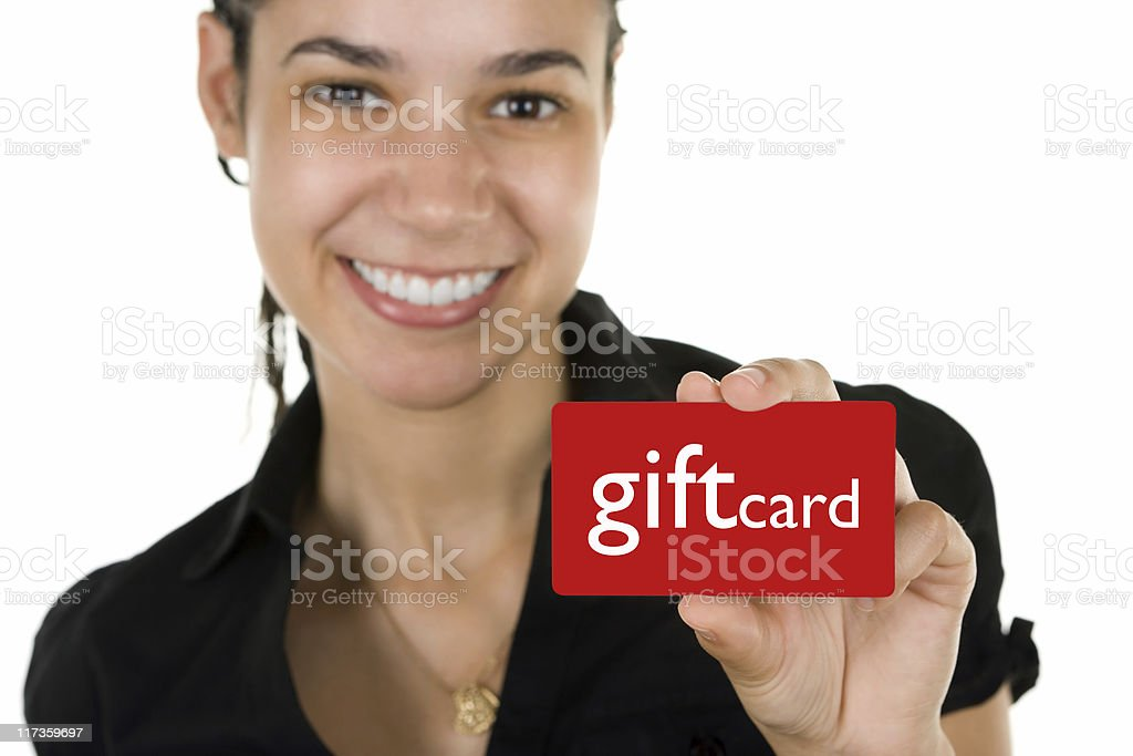 Woman with gift card stock photo