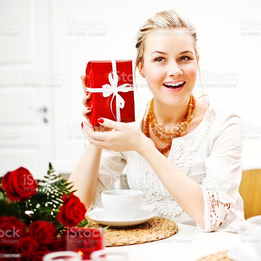 Woman with gift royalty-free stock photo