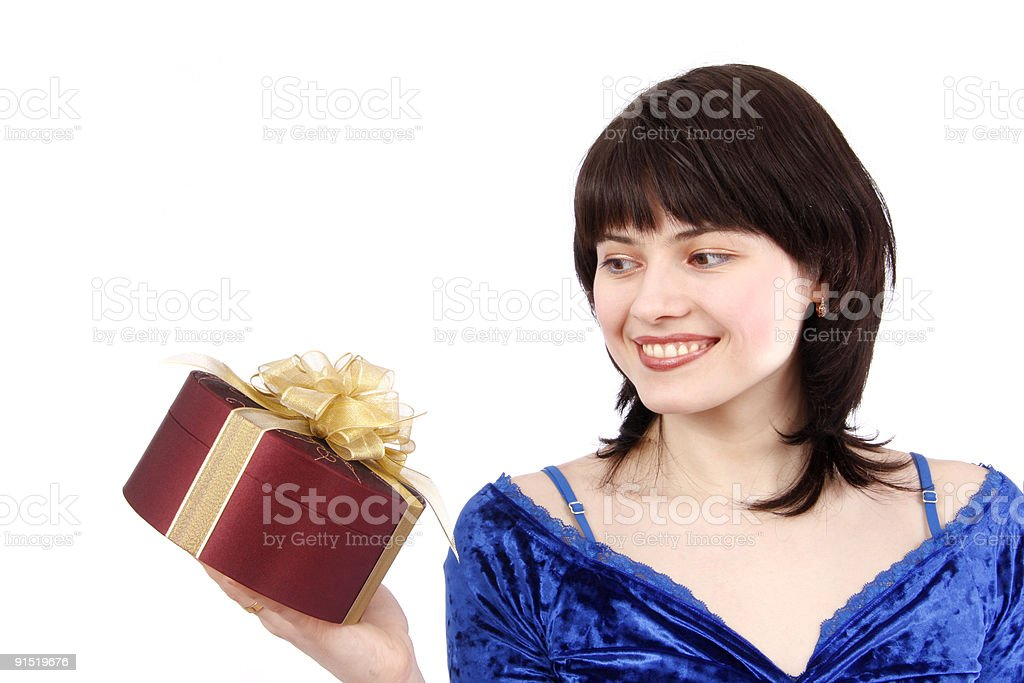 Woman with gift. royalty-free stock photo