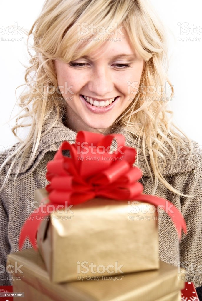 woman with gifts royalty-free stock photo