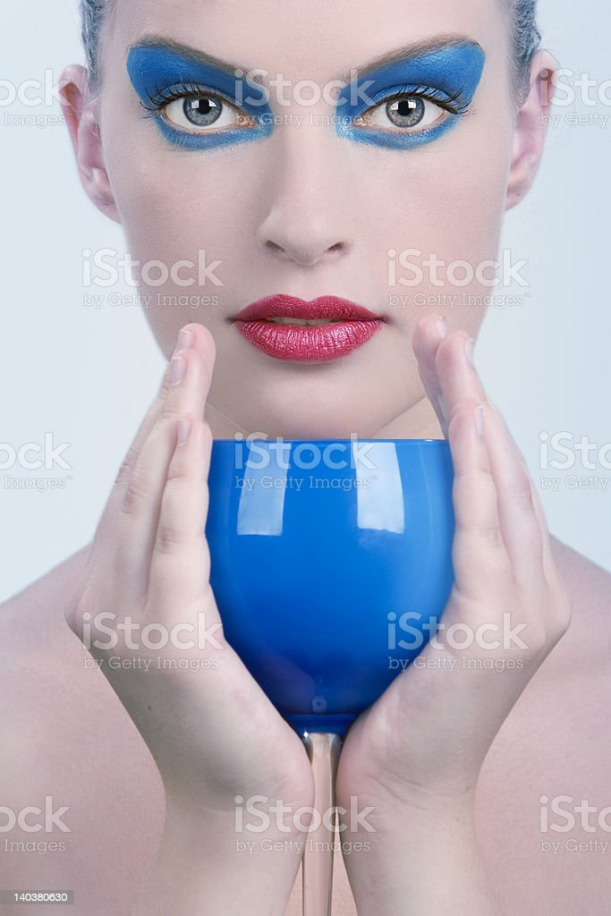 Woman with glass stock photo