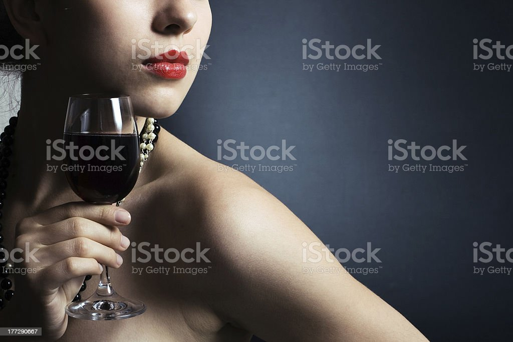 woman with glass red wine royalty-free stock photo