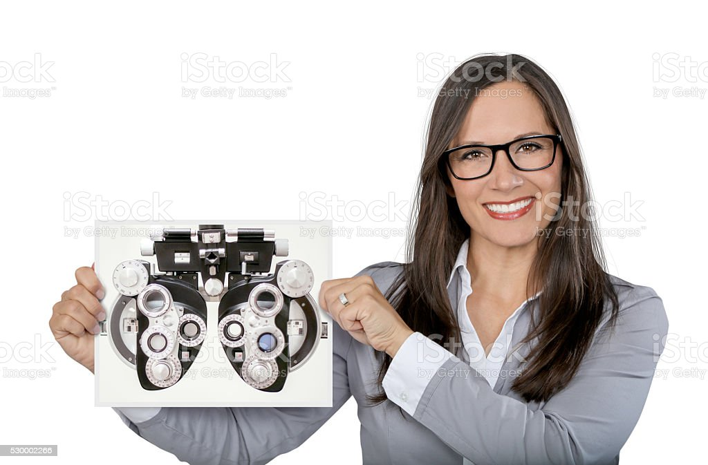 Woman with glasses holding blank sign stock photo