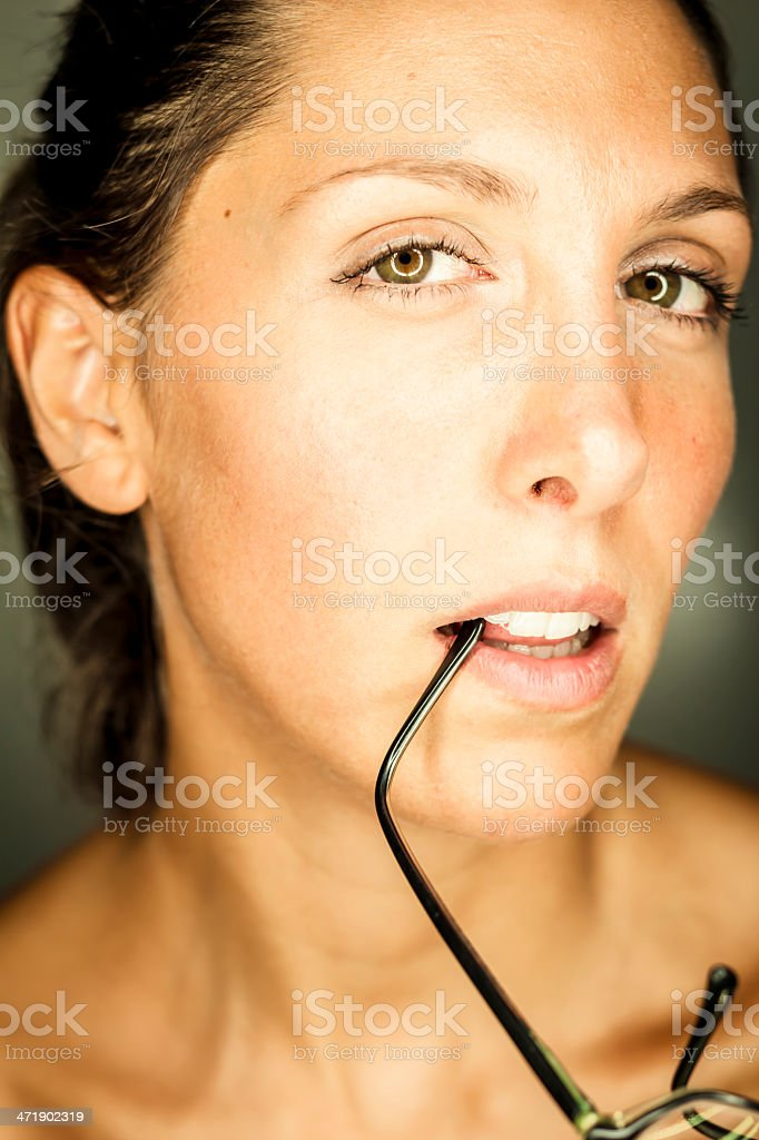 woman with glasses stock photo