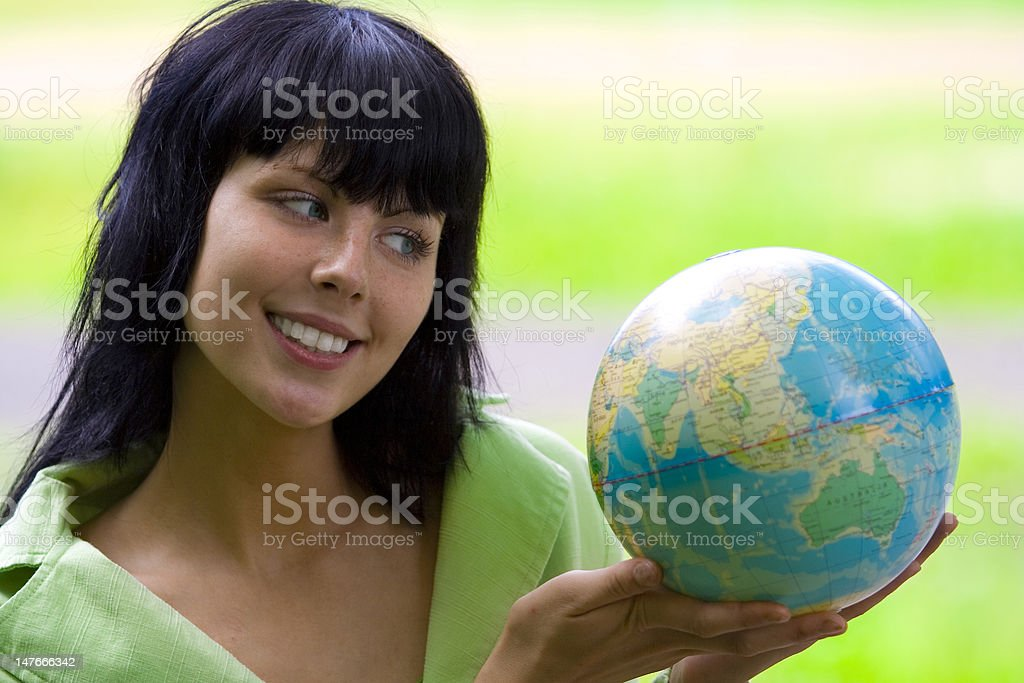woman with global royalty-free stock photo