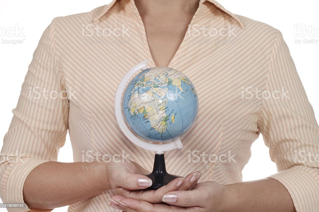 Woman with globe stock photo
