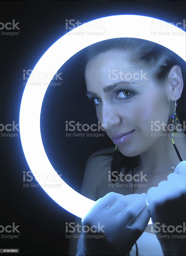 Woman With Glove stock photo
