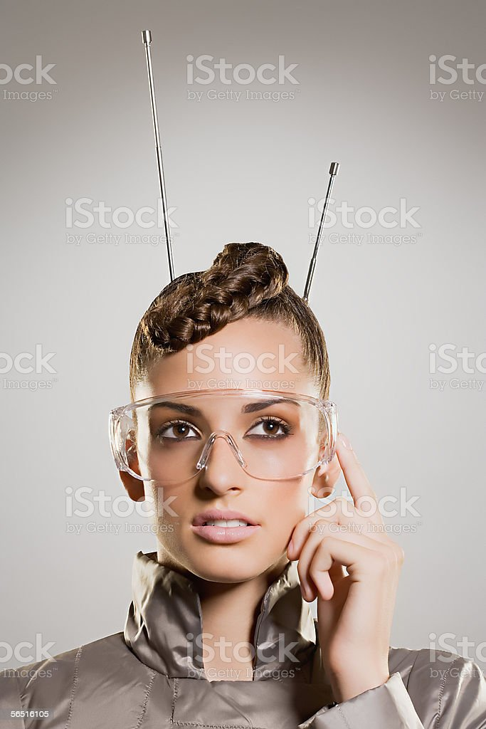 Woman with goggles and antenna royalty-free stock photo