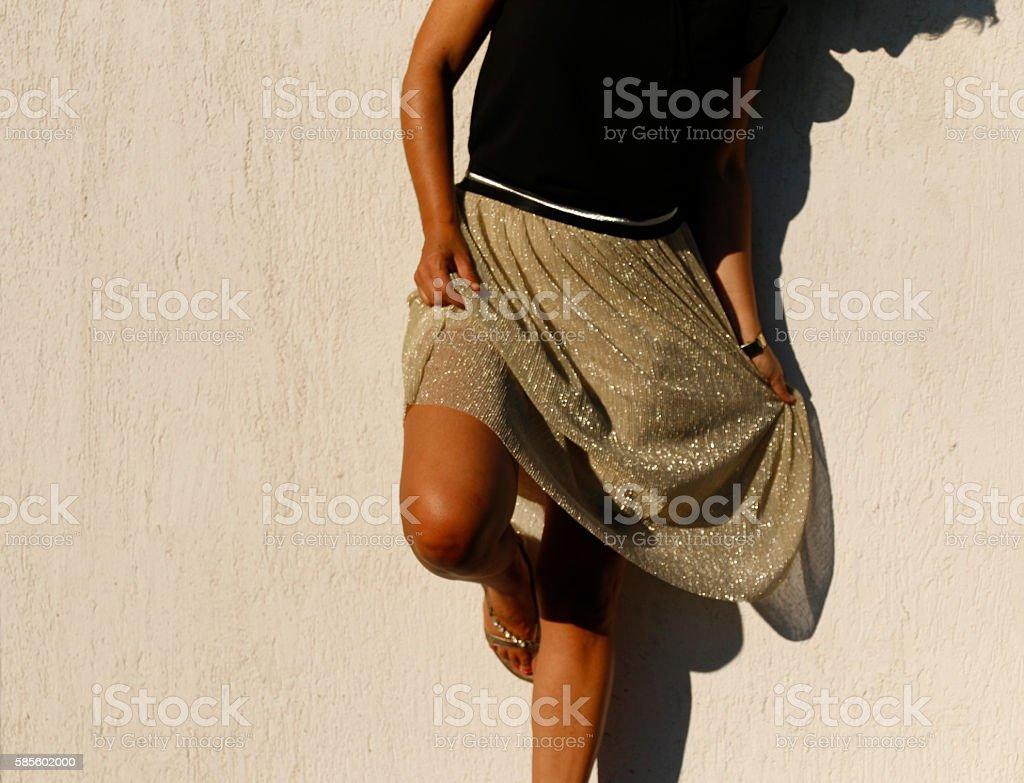 Woman with golden sash stock photo