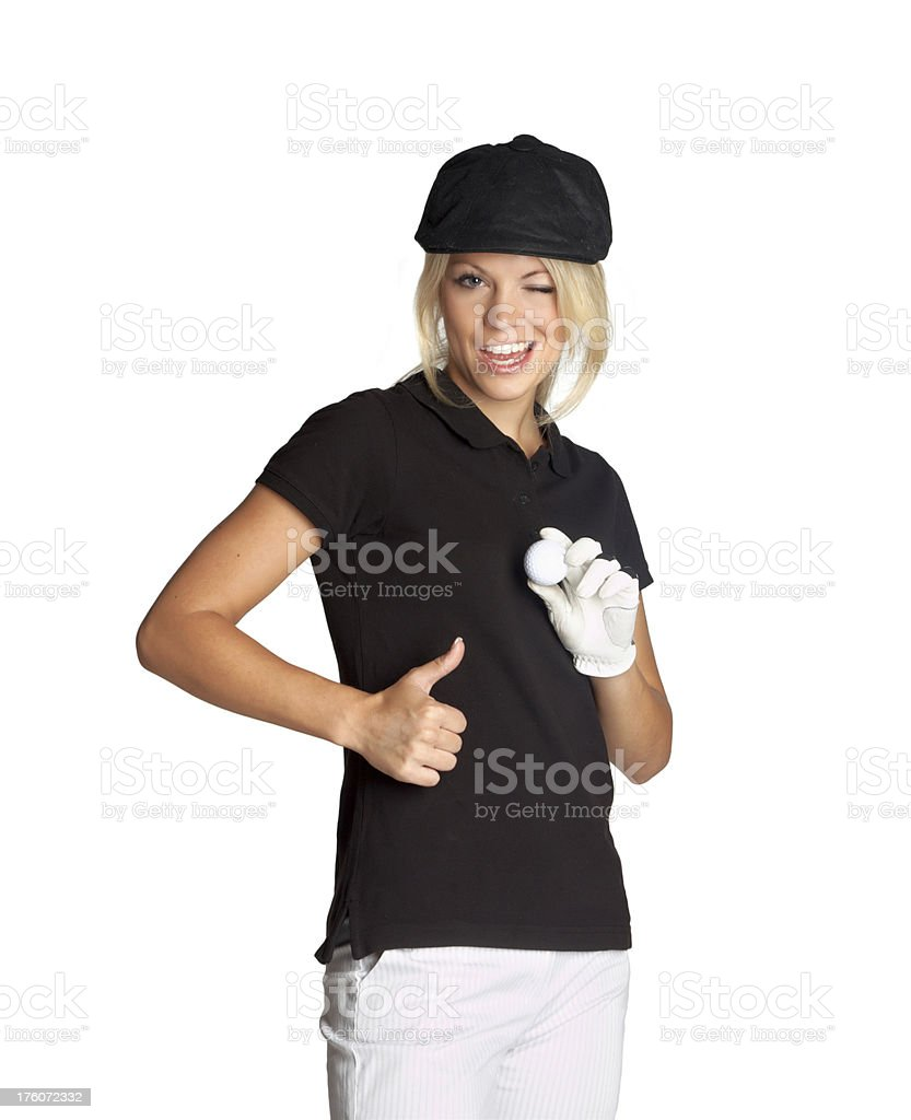 woman with golf ball and thumbs up royalty-free stock photo