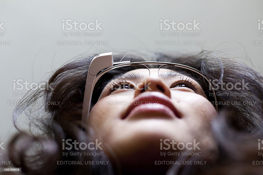 Woman with Google Glass stock photo