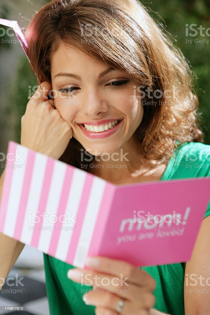 woman with greatings card stock photo