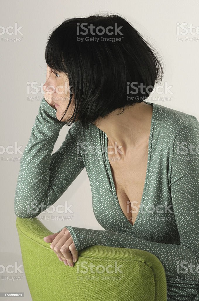 Woman with green dress royalty-free stock photo