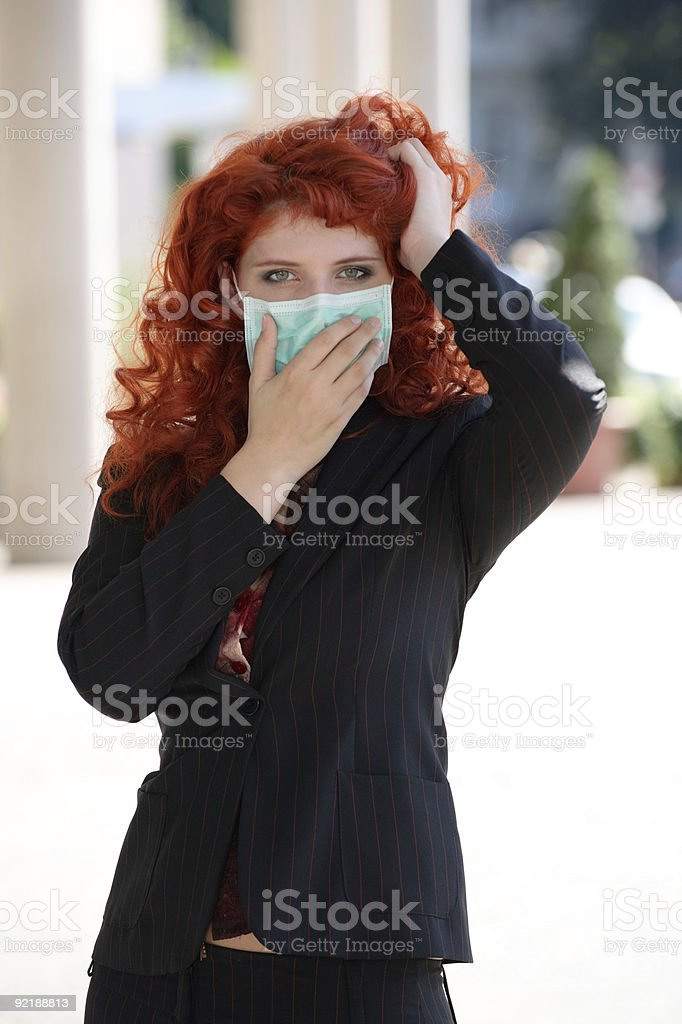 Woman with green face mask royalty-free stock photo