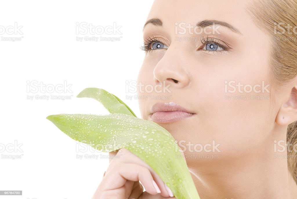woman with green leaf royalty-free stock photo