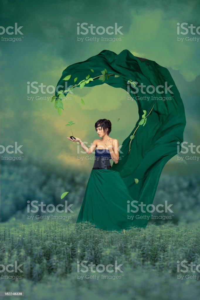 Woman with green sprout in hand royalty-free stock photo
