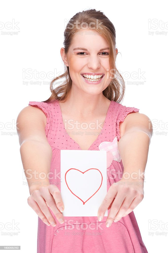 Woman with greeting card royalty-free stock photo