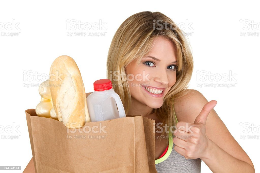 woman with groceries royalty-free stock photo