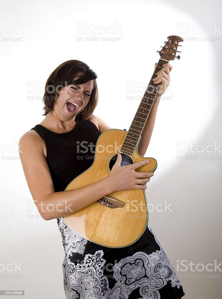 Woman with Guitar 6 stock photo