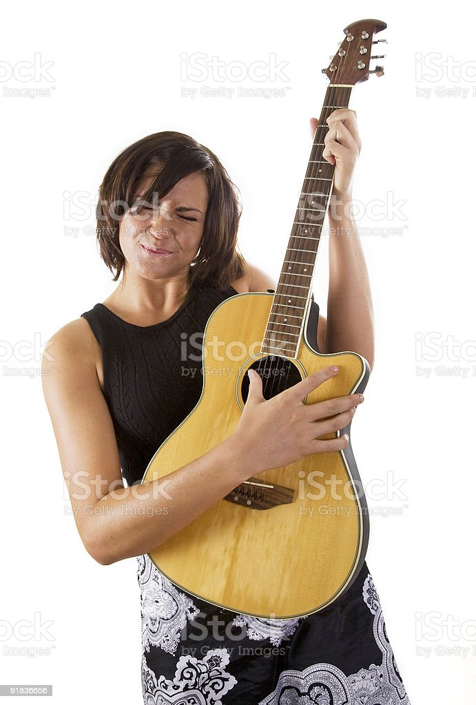Woman with Guitar stock photo