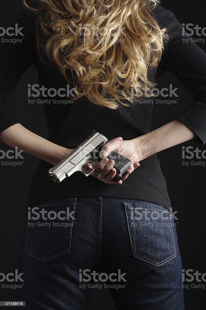 Woman with  gun series royalty-free stock photo