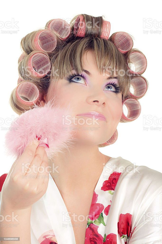 woman with hair curlers royalty-free stock photo