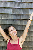woman with hairy armpits