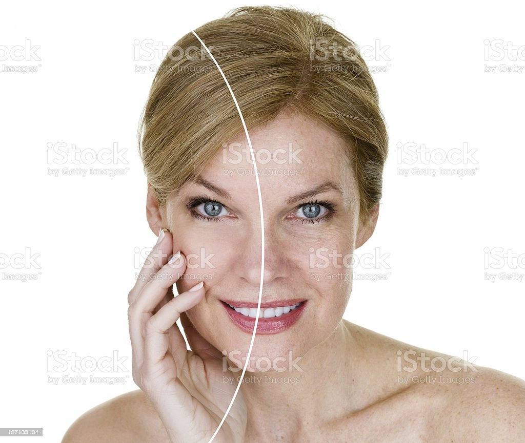 Woman with half edited face stock photo