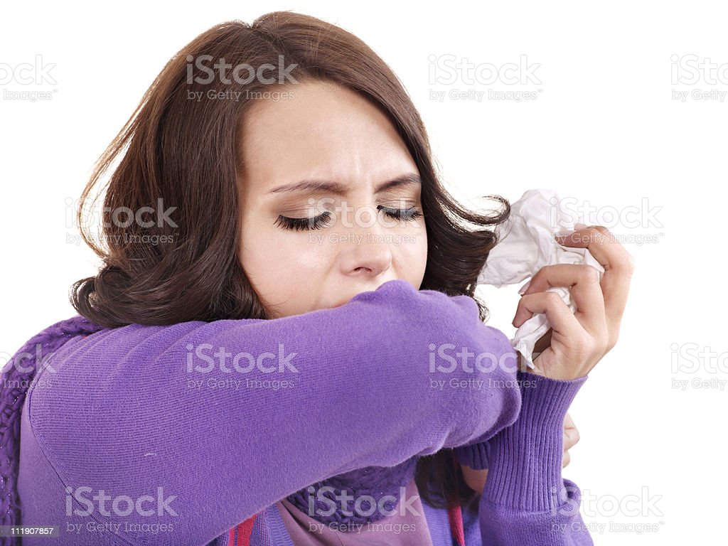 Woman with handkerchief having cold. royalty-free stock photo