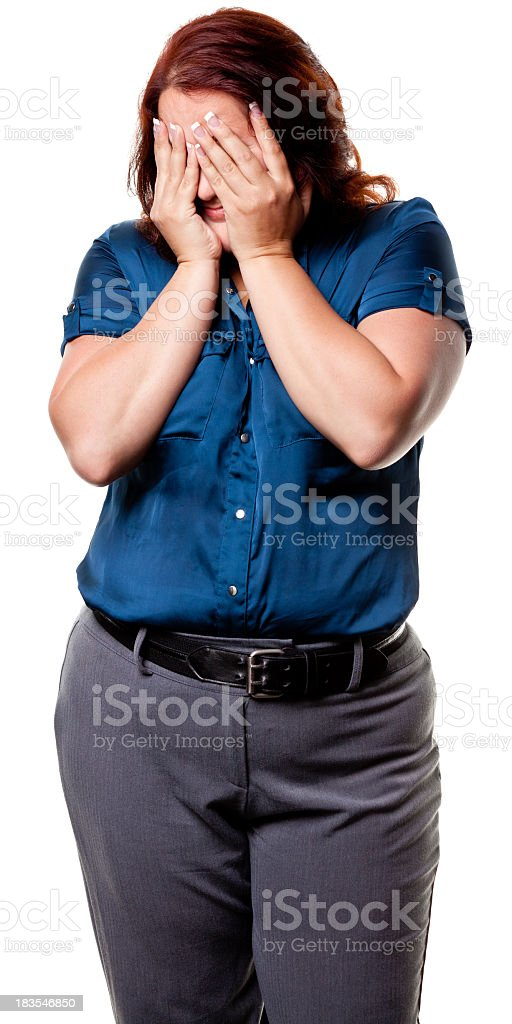 Woman With Hands Covering Eyes royalty-free stock photo