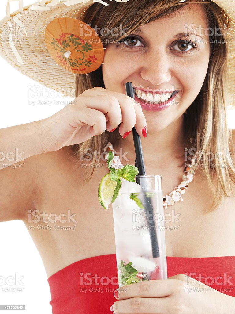 Woman with hat and cocktail royalty-free stock photo