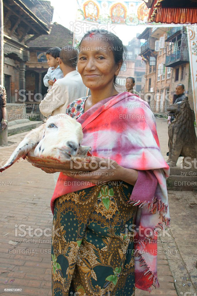 woman with head of a goat stock photo