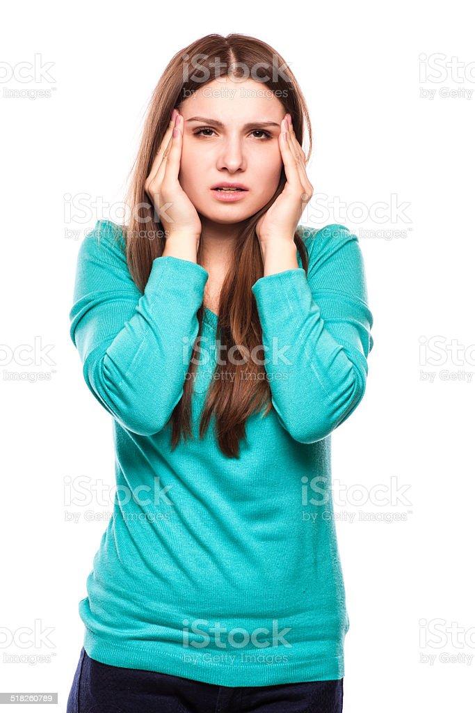 woman with headache, migraine, stress, insomnia, hangover stock photo