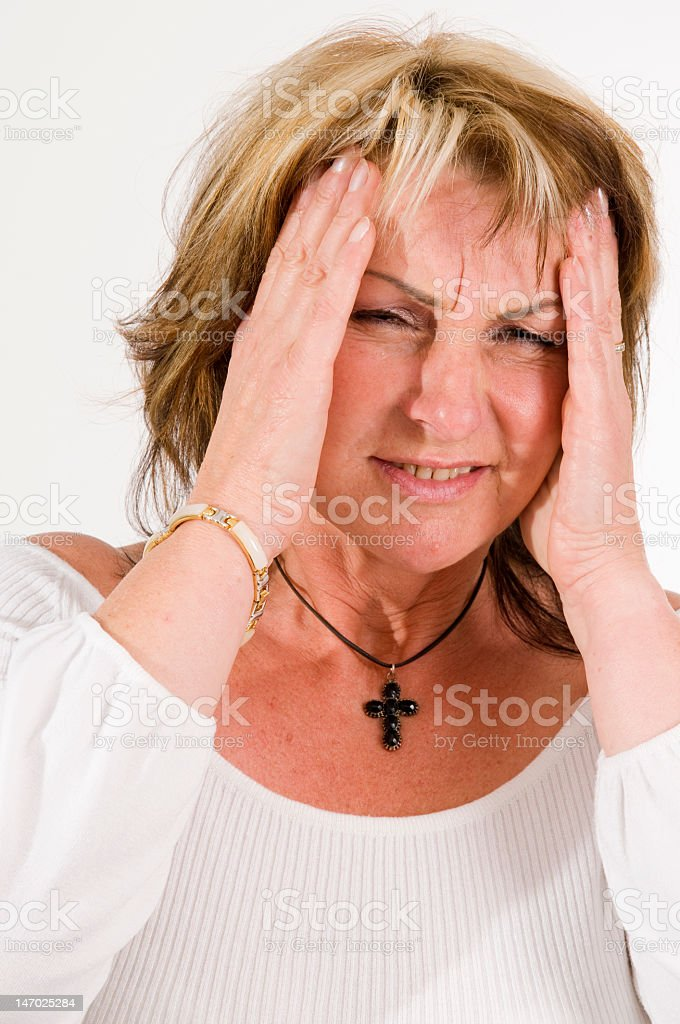 woman with headache royalty-free stock photo