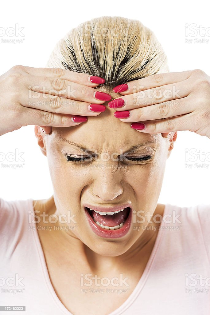 Woman with headache. royalty-free stock photo