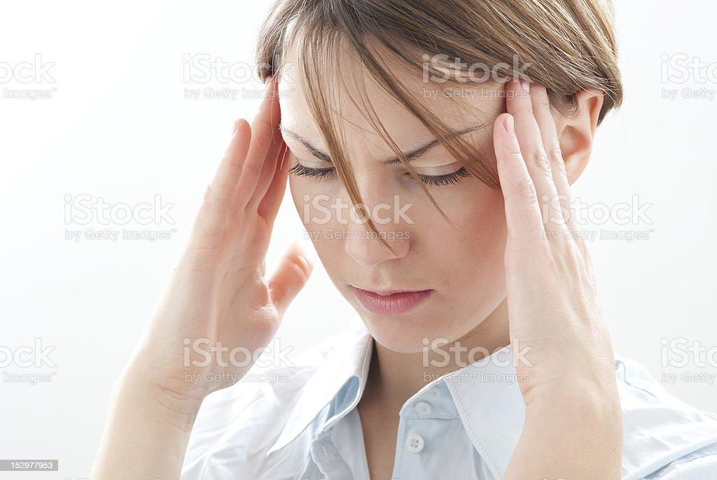 woman with headacke stock photo