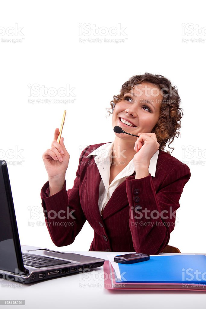 Woman with headset and laptop royalty-free stock photo