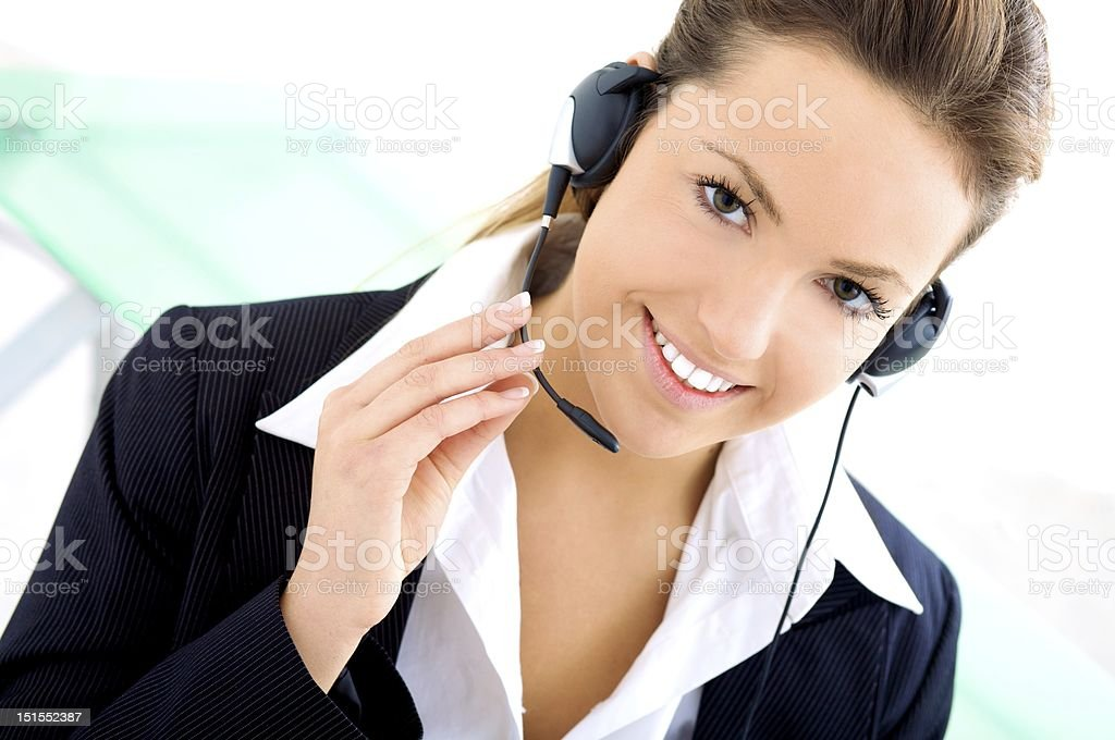 Woman with headset royalty-free stock photo