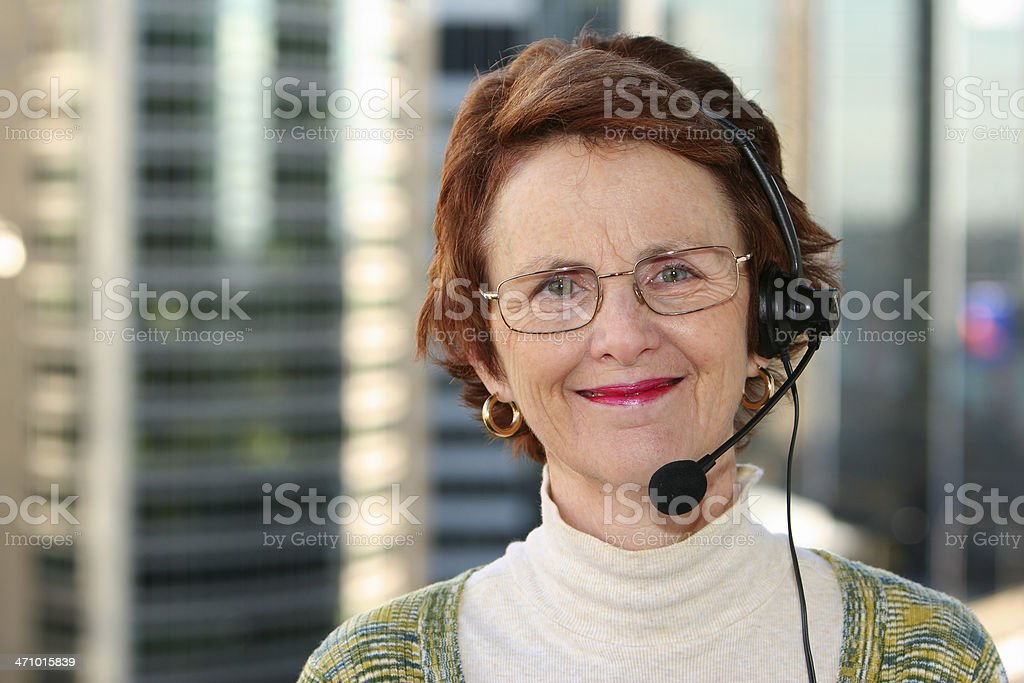 Woman with headset. stock photo