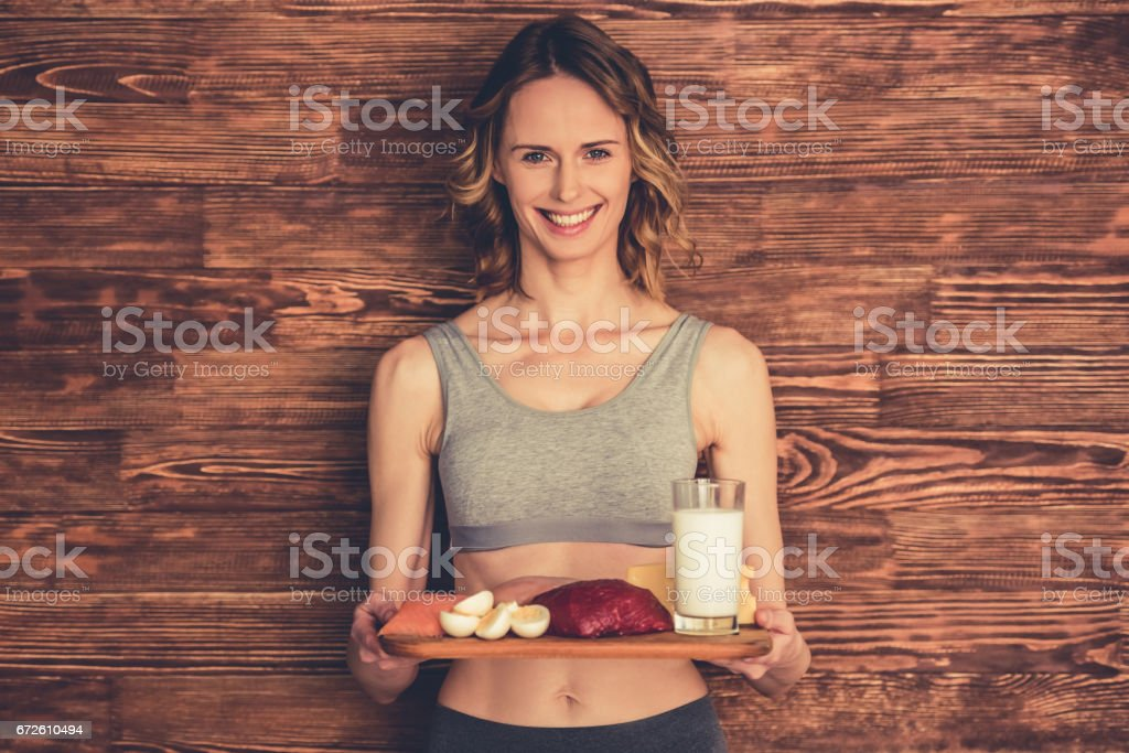 Woman with healthy food stock photo
