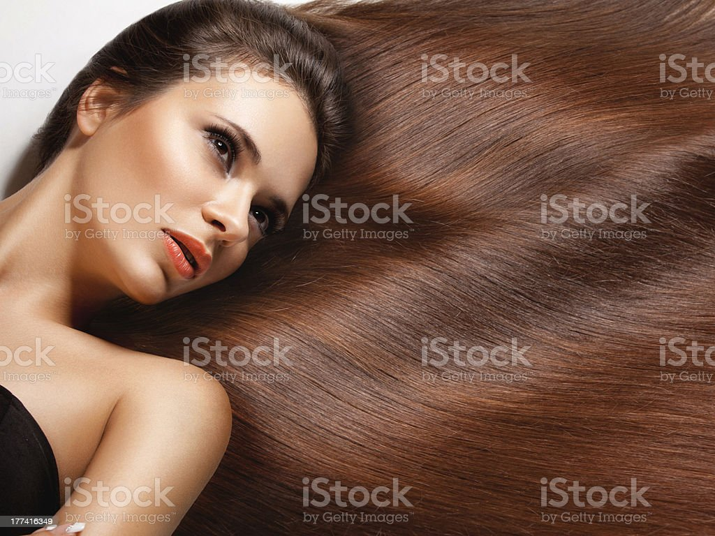Woman with  healthy long hair. stock photo