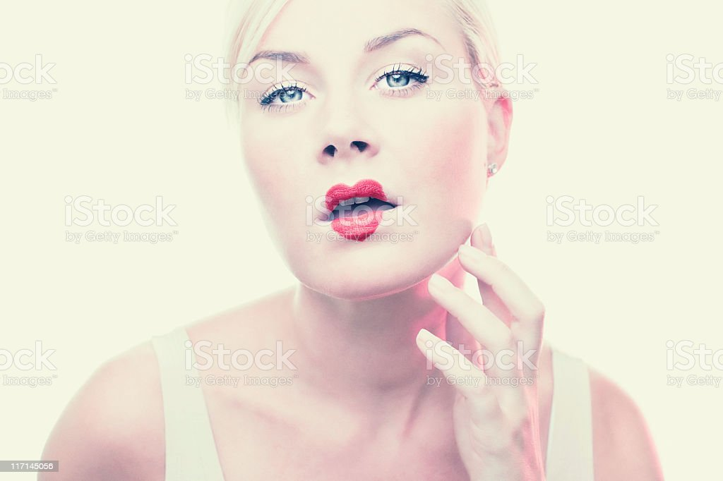 Woman with heart shaped lipstick royalty-free stock photo