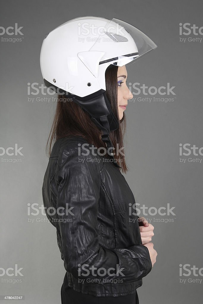 Woman with helmet on head royalty-free stock photo