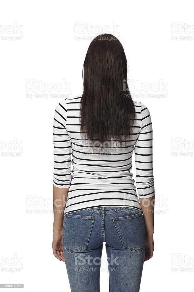 Woman With Her Back to the Camera - Isolated royalty-free stock photo