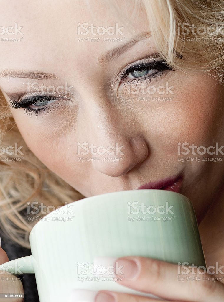 Woman with  her coffee royalty-free stock photo