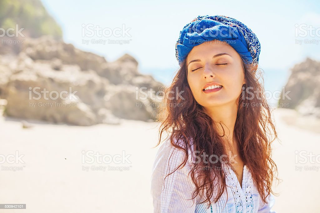 Woman with her eyes closed stock photo