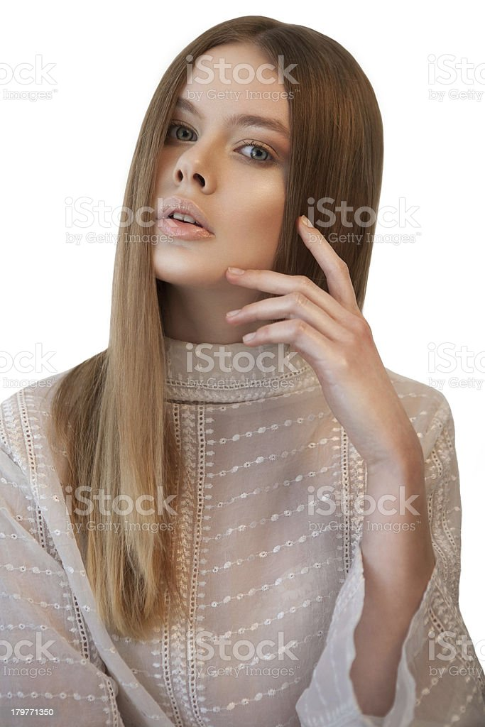 Woman with her hand near face royalty-free stock photo