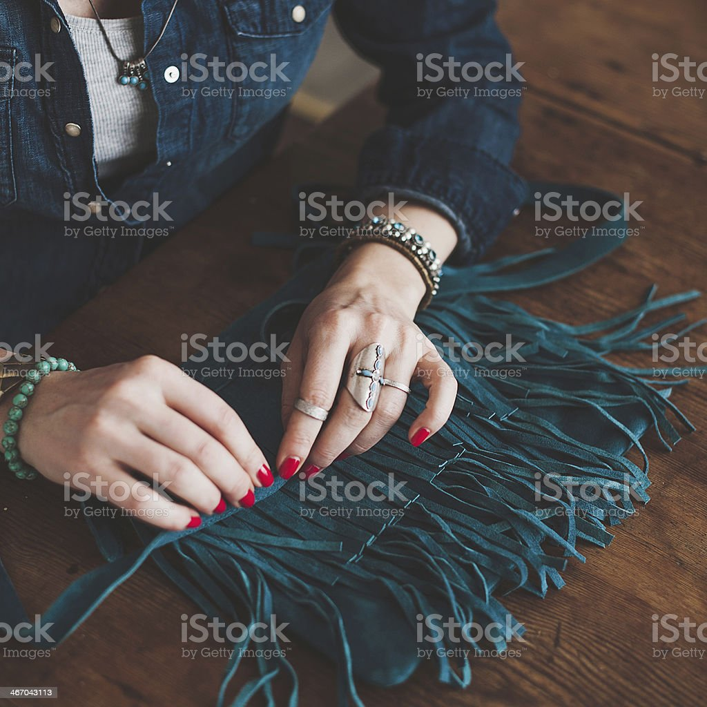 Woman with her handbag stock photo