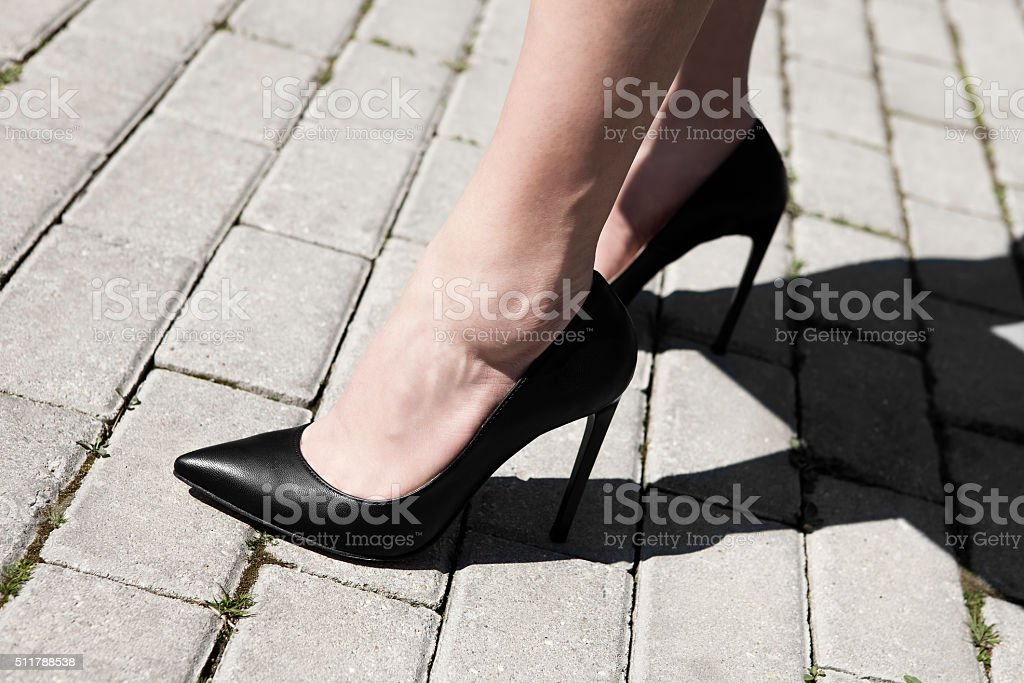 woman with high heels stock photo