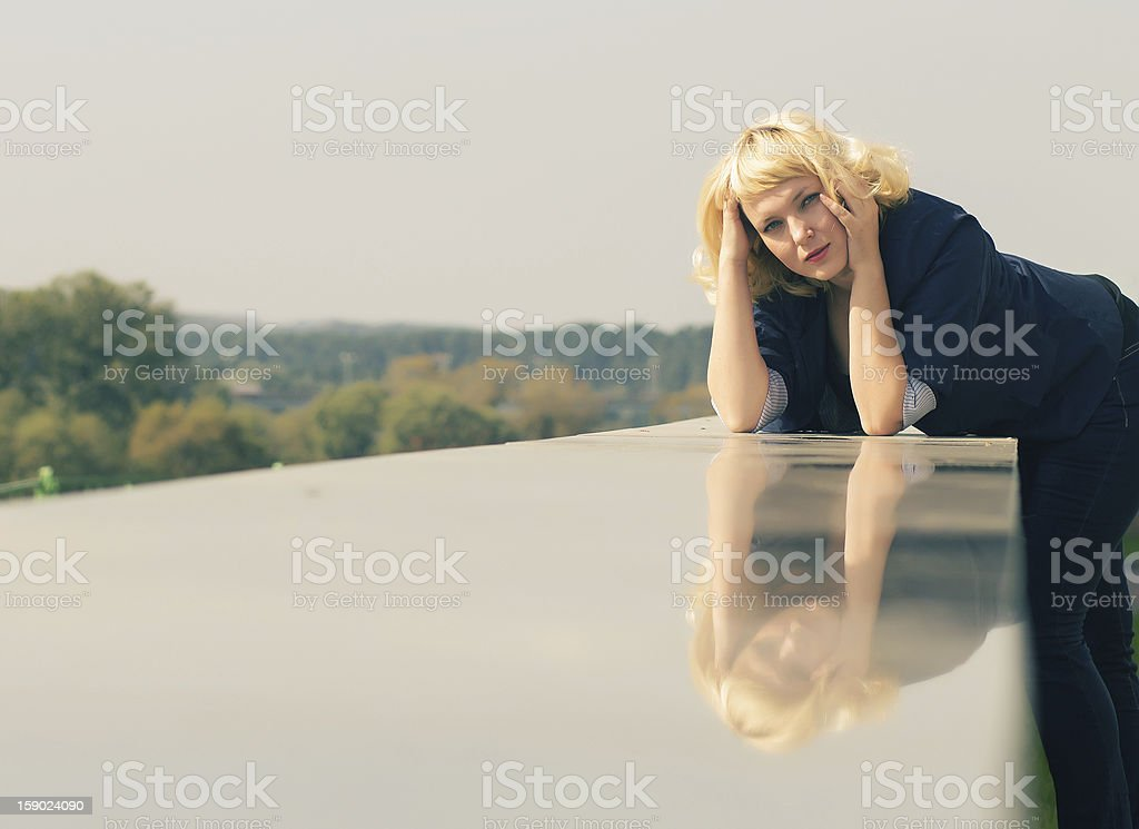 woman with his reflection royalty-free stock photo